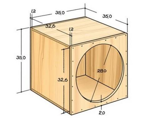 Чертёж домика-коробки для кошки с примерными размерами