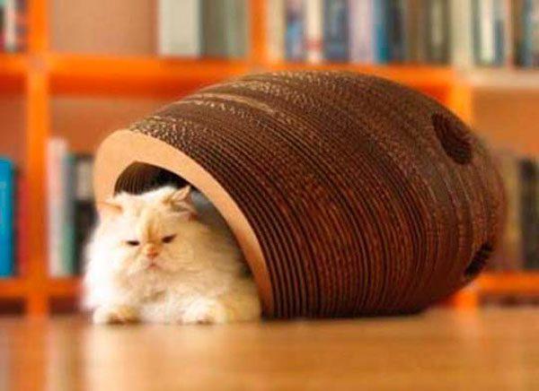 Дом для кошки из картонных колец