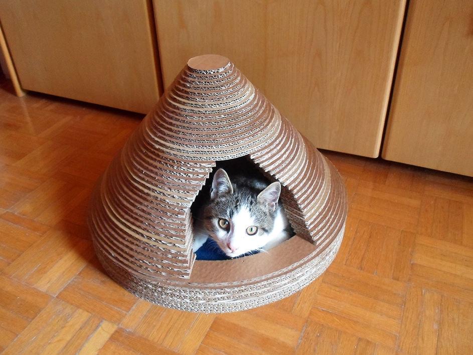 Домик для кота своими руками из картона фото 39