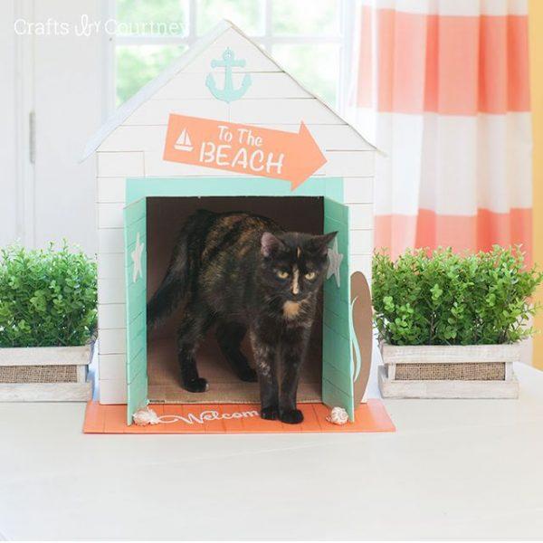 Домик для кошки из картонной коробки