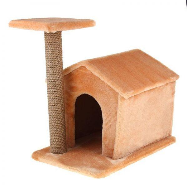 Домик для кошки, оснащенный когтеточкой
