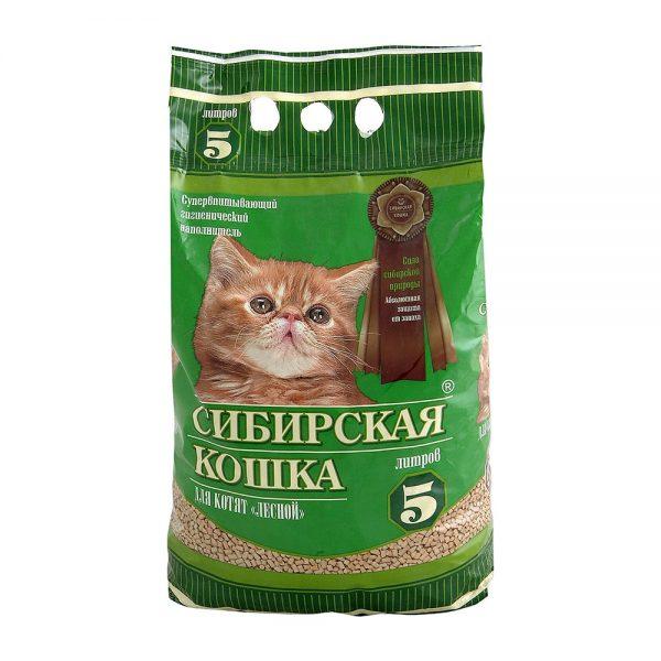 древесный наполнитель для котят в зелёном пакете