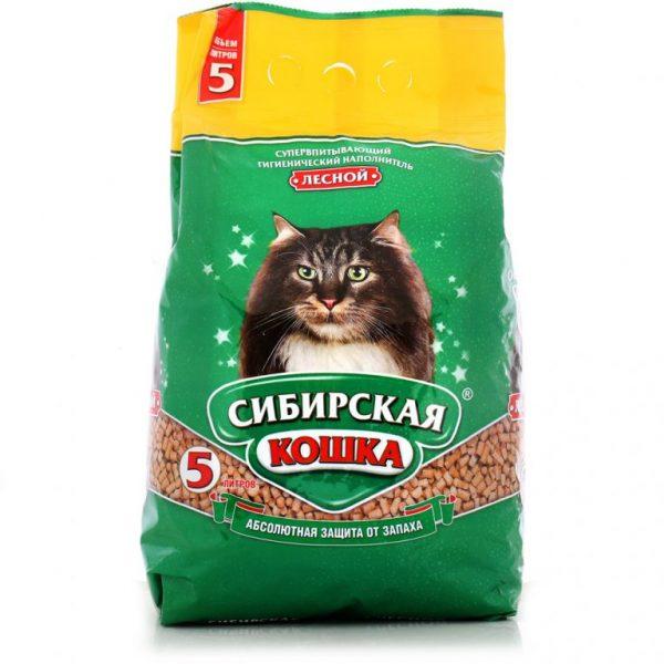 древесный наполнитель в пятилитровой упаковке для взрослых кошек