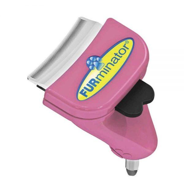 Фурминатор с розовым корпусом и чёрной кнопкой
