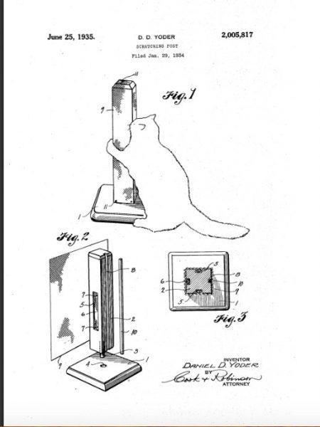 Иллюстрация к патенту США № 0000817, полученному Дэниелом Д. Йодером в 1935 году, с изображением чертежей кошачьего столбика-царапки
