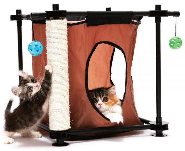 Кошачий игровой комплекс и 2 котёнка