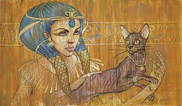 рисунок древнеегипетской женщины с кошкой