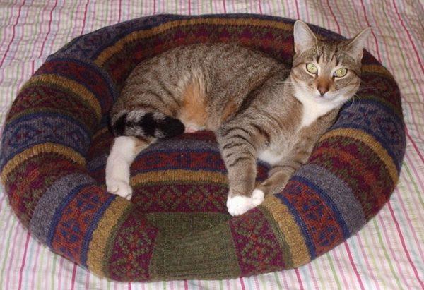 Лежанка для кошки из старого свитера