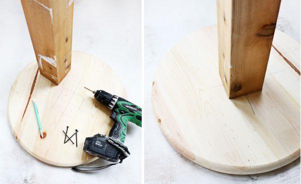 Начало работы с когтеточкой-столбиком: разметка отверстий для крепления и соединение подставки с бруском