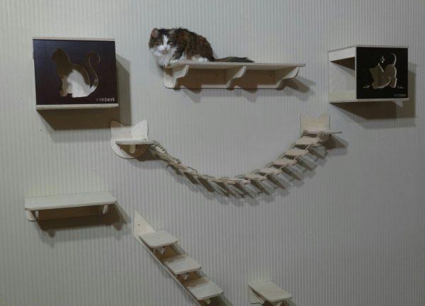 Настенный игровой комплекс и пятнистая кошка