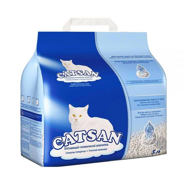 пятилитровая упаковка наполнителя Катсан в сине-голубом пакете