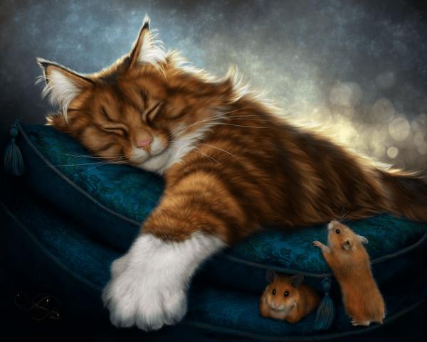 Рыжий спящий кот и хомячки