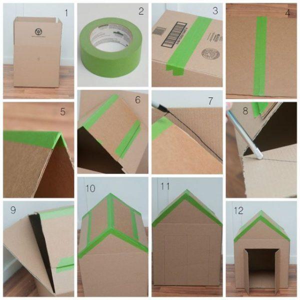 Домик из картонной коробки. Шаг 1