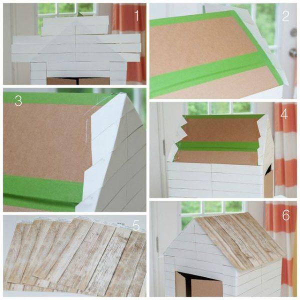 Домик из картонной коробки. Шаг 3