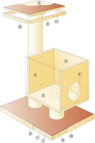 Схема домика и когтеточки-столбика на подставке из дерева