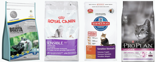 Сухие корма для животных с чувствительным пищеварением