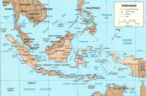 карта Восточной части Азии