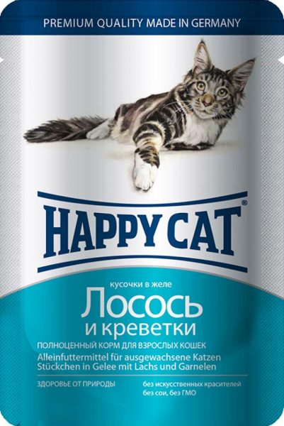 Паучи Happy Cat для кошек с лососем и креветками