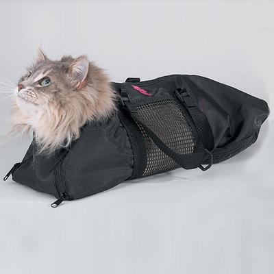 Пушистый кот размещен в сумке-фиксаторе