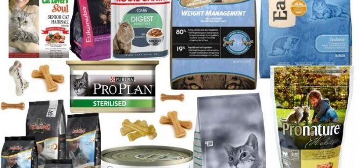 разные виды кормов для кошек