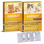 Капли Адвокат от глистов и внешних паразитов для кошек
