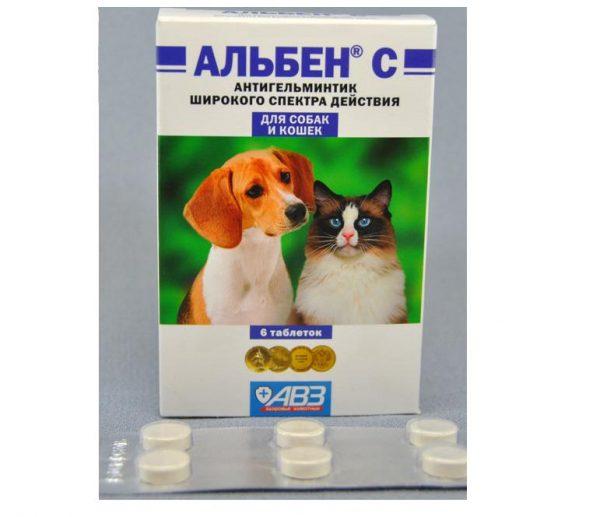 Коробка и пластинка с таблетками Альбен C