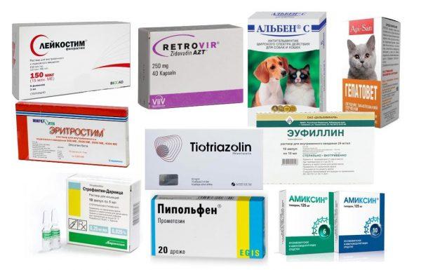 Разные лекарства для кошек