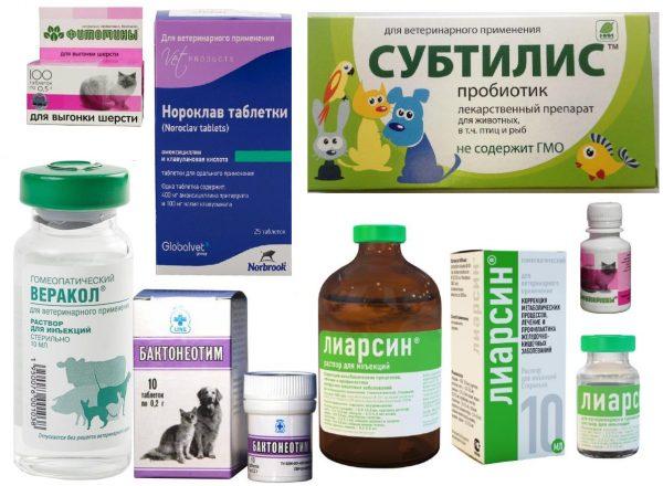 Разные ветеринарные препараты для лечения болезней пищеварительной системы