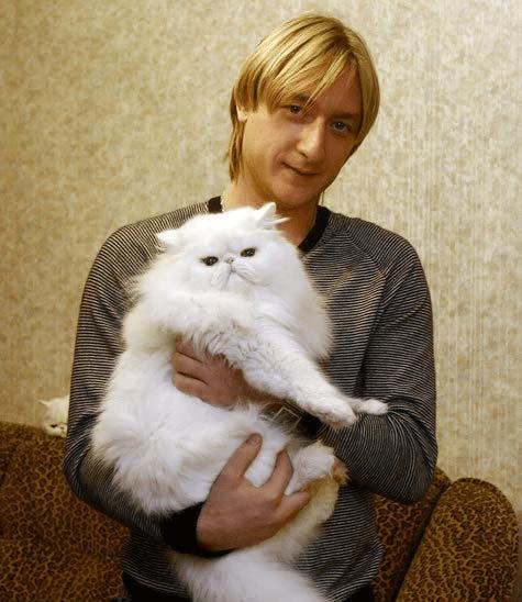 Кот на руках у Плющенко