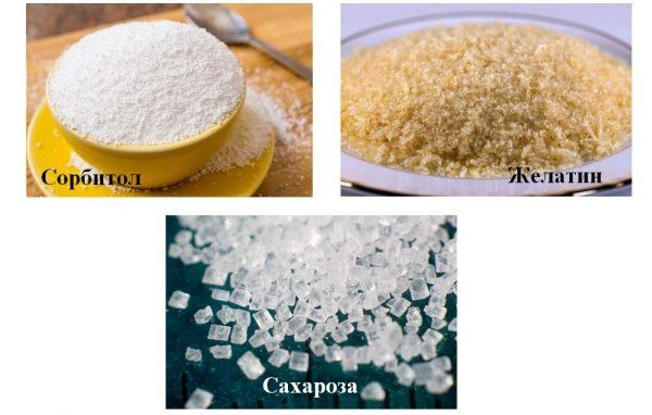 Сорбитол, желатин и сахароза