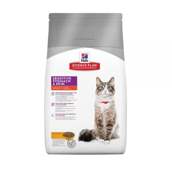 Сухой корм Hill's для кошек с чувствительным пищеварением и кожей