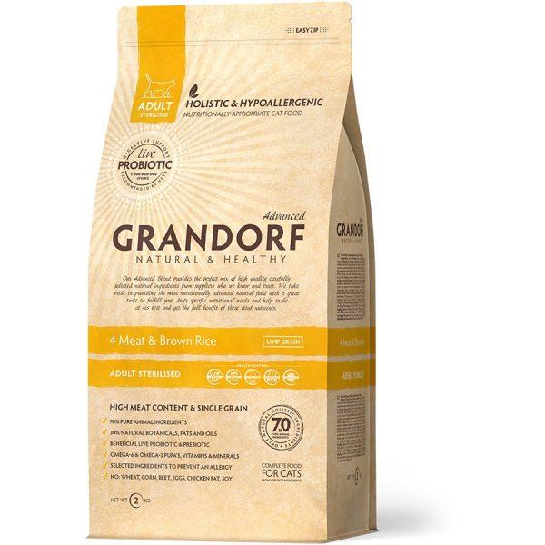Корм GRANDORF 4 вида мяса с пробиотиками для стерилизованных кошек