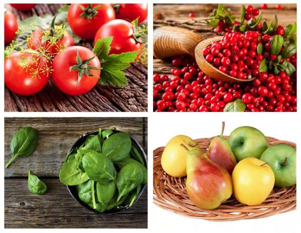 Томаты, клюква, шпинат, яблоки и груши