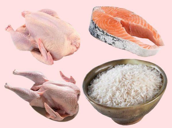 Курица, индейка, лосось и рис