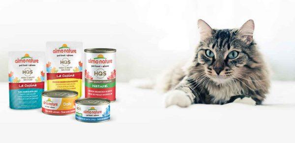 Кошка и корм Almo Nature