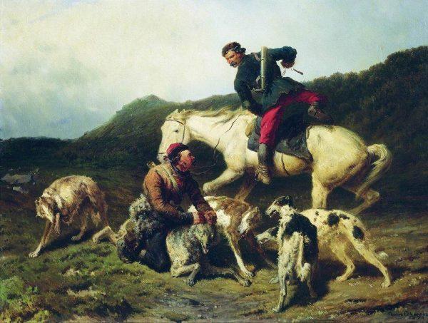 Картина Петра Соколова «Охота на волка»