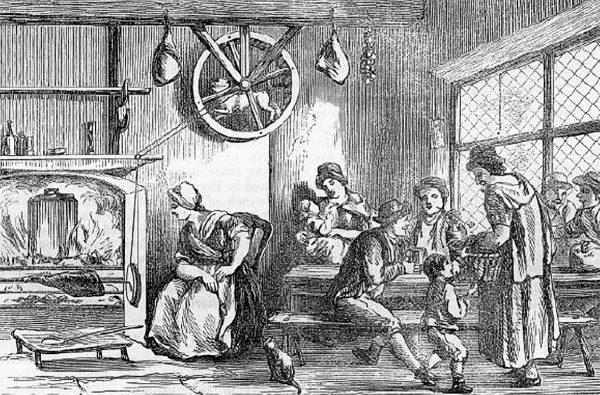Собака крутит колесо в трактире, средневековая гравюра